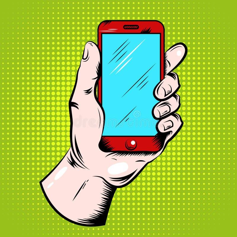 Λαϊκό σχέδιο τέχνης Smartphone εκμετάλλευσης χεριών απεικόνιση αποθεμάτων