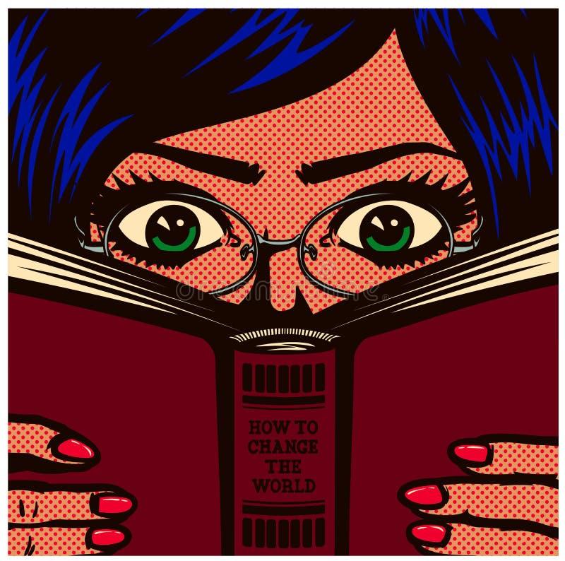 Λαϊκό τέχνης κόμικς κορίτσι γυναικών σπουδαστών βιβλιοψειρών nerdy που μελετά και που διαβάζει στο βιβλίο τη διανυσματική απεικόν διανυσματική απεικόνιση