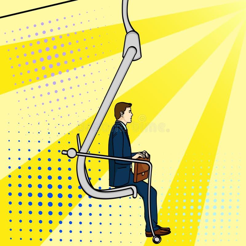 Λαϊκό υπόβαθρο τέχνης, επιχειρηματίας στη σκάλα σταδιοδρομίας Ένα άτομο αναρριχείται σε έναν εκσκαφέα Ένα κωμικό ύφος, μια μίμηση ελεύθερη απεικόνιση δικαιώματος