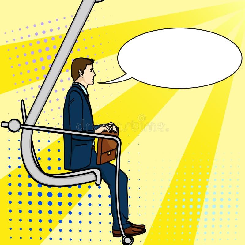 Λαϊκό υπόβαθρο τέχνης, επιχειρηματίας στη σκάλα σταδιοδρομίας Ένα άτομο αναρριχείται σε έναν εκσκαφέα Ένα κωμικό ύφος, μια μίμηση διανυσματική απεικόνιση