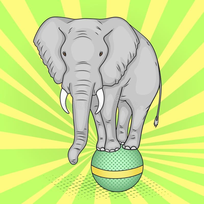 Λαϊκό υπόβαθρο τέχνης, πράσινες ακτίνες ήλιων Ένας ελέφαντας τσίρκων στέκεται σε μια σφαίρα Η μίμηση του κωμικού ύφους διάνυσμα διανυσματική απεικόνιση