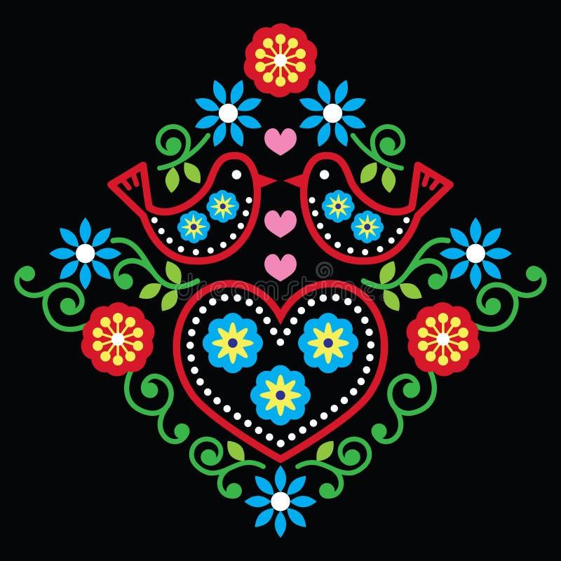 Λαϊκό floral σχέδιο τέχνης στο Μαύρο απεικόνιση αποθεμάτων