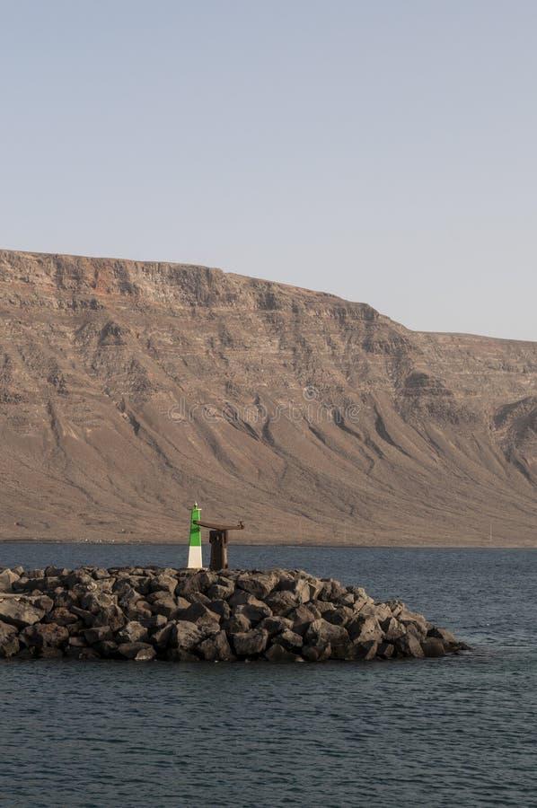 Λα Graciosa, λιμένας, ψάρια, Caleta de Sebo, Ατλαντικός Ωκεανός, ηφαιστειακός, τοπίο, να ταξιδεψει, Lanzarote, Κανάρια νησιά, Ισπ στοκ εικόνα