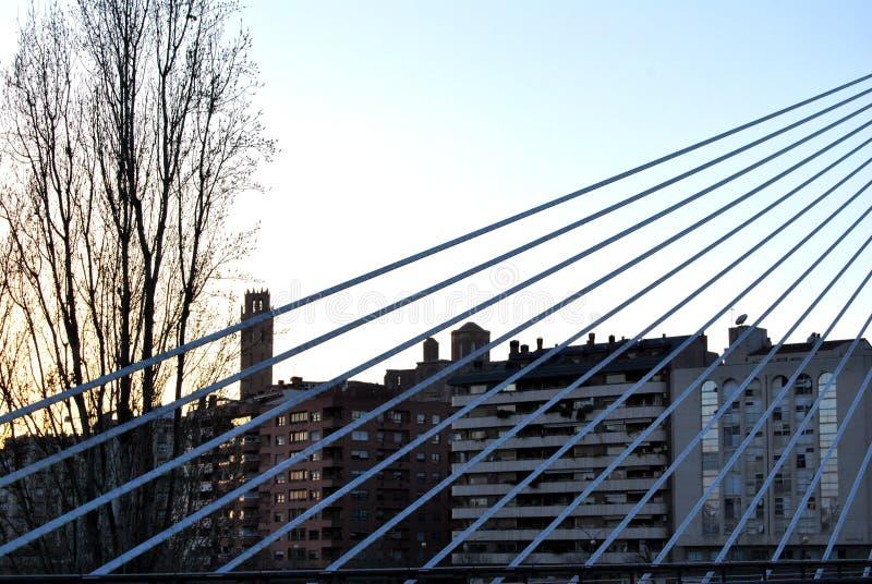 Λα Seu Vella de Lleida από τη γέφυρα Princep de Viana στοκ εικόνα με δικαίωμα ελεύθερης χρήσης