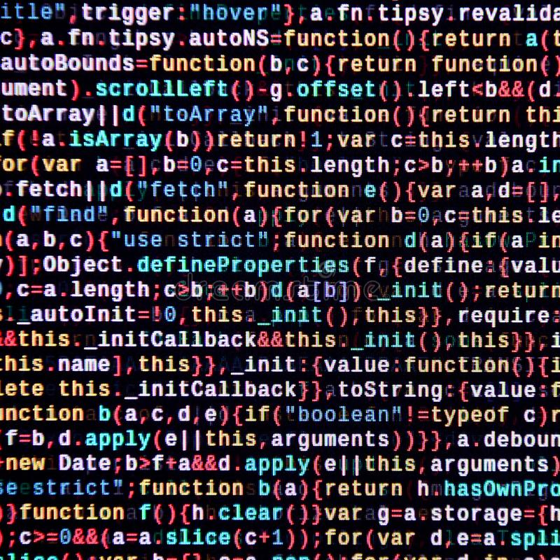 Λειτουργίες Javascript, μεταβλητές, αντικείμενα Κινηματογράφηση σε πρώτο πλάνο οργάνων ελέγχου του κωδικού πηγής λειτουργίας Ειδι στοκ φωτογραφία με δικαίωμα ελεύθερης χρήσης