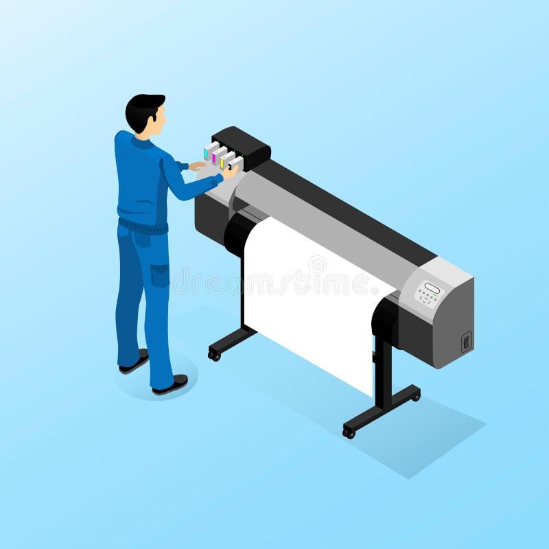 Λειτουργώντας μηχανή για την τυπωμένη ύλη μεγάλου σχήματος απεικόνιση αποθεμάτων
