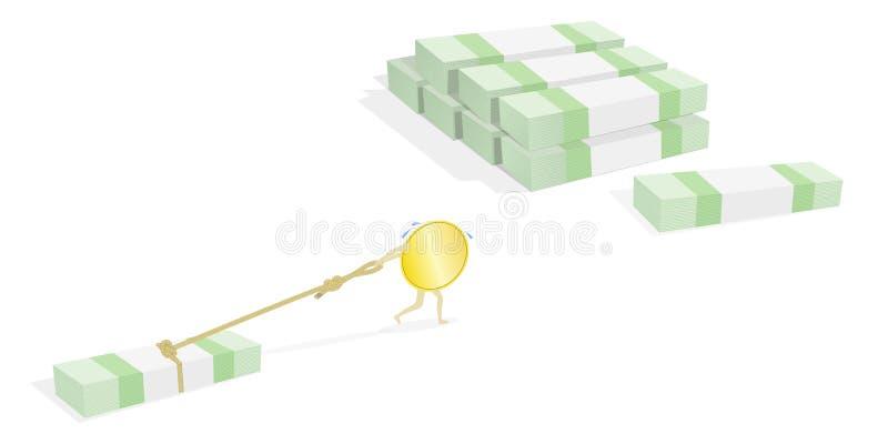 Λειτουργώντας νομίσματα, κέρδος, διανυσματική απεικόνιση ελεύθερη απεικόνιση δικαιώματος