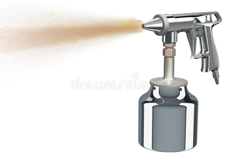 Λειτουργώντας πυροβόλο όπλο αμμοστρωτικών μηχανών άμμου, τρισδιάστατη απόδοση ελεύθερη απεικόνιση δικαιώματος