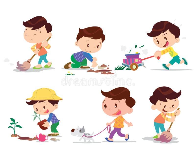 Λειτουργώντας σπίτι αγοριών πολλοί δράση ελεύθερη απεικόνιση δικαιώματος