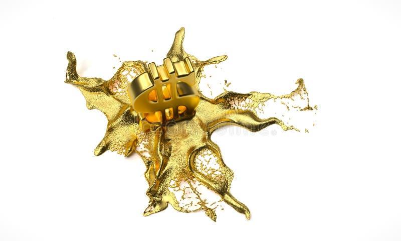 Λειωμένα μέταλλα συμβόλων δολαρίων στον υγρό χρυσό Πορεία απεικόνιση αποθεμάτων