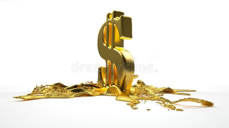 Λειωμένα μέταλλα συμβόλων δολαρίων στον υγρό χρυσό Πορεία ελεύθερη απεικόνιση δικαιώματος