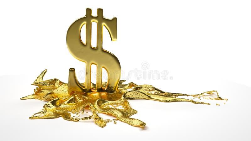 Λειωμένα μέταλλα συμβόλων δολαρίων στον υγρό χρυσό Πορεία διανυσματική απεικόνιση