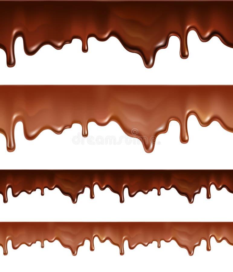 Λειωμένη σοκολάτα που στάζει στο άσπρο υπόβαθρο ελεύθερη απεικόνιση δικαιώματος
