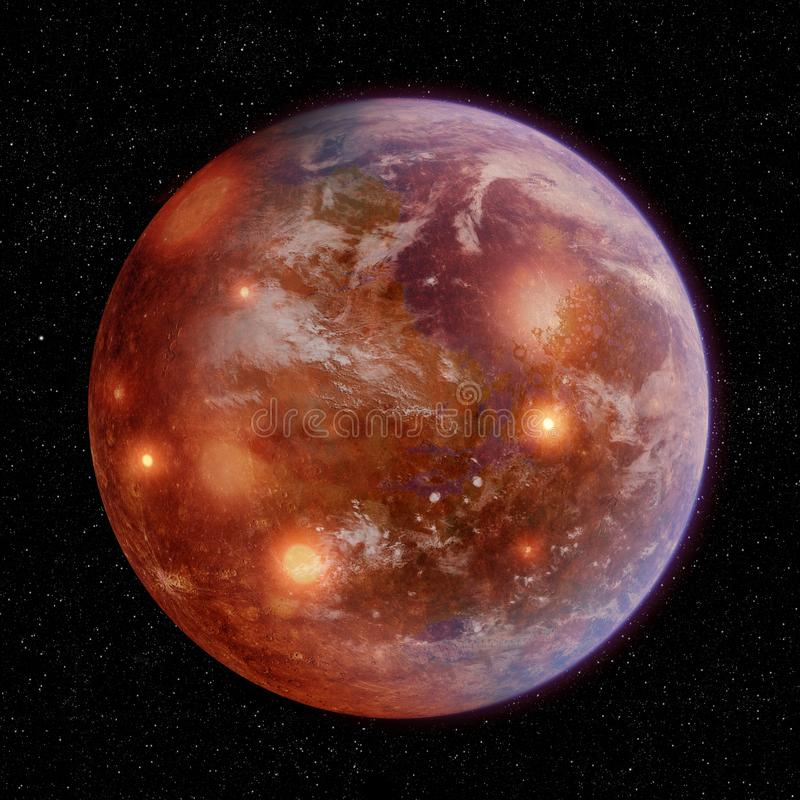 Λειωμένος πλανήτης με τους κρατήρες και την ατμόσφαιρα απεικόνιση αποθεμάτων
