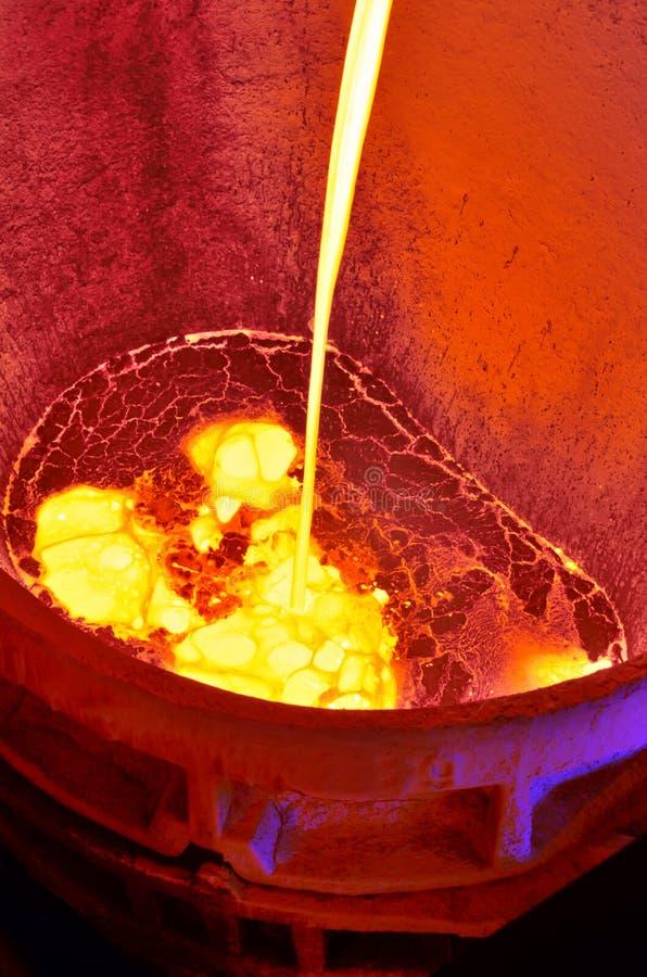 Λειωμένο μέταλλο από το φούρνο φυσήματος στοκ εικόνα με δικαίωμα ελεύθερης χρήσης