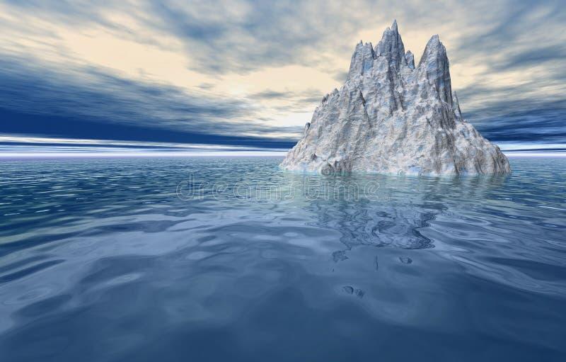 Λειώνοντας τρισδιάστατο τοπίο παγόβουνων ελεύθερη απεικόνιση δικαιώματος