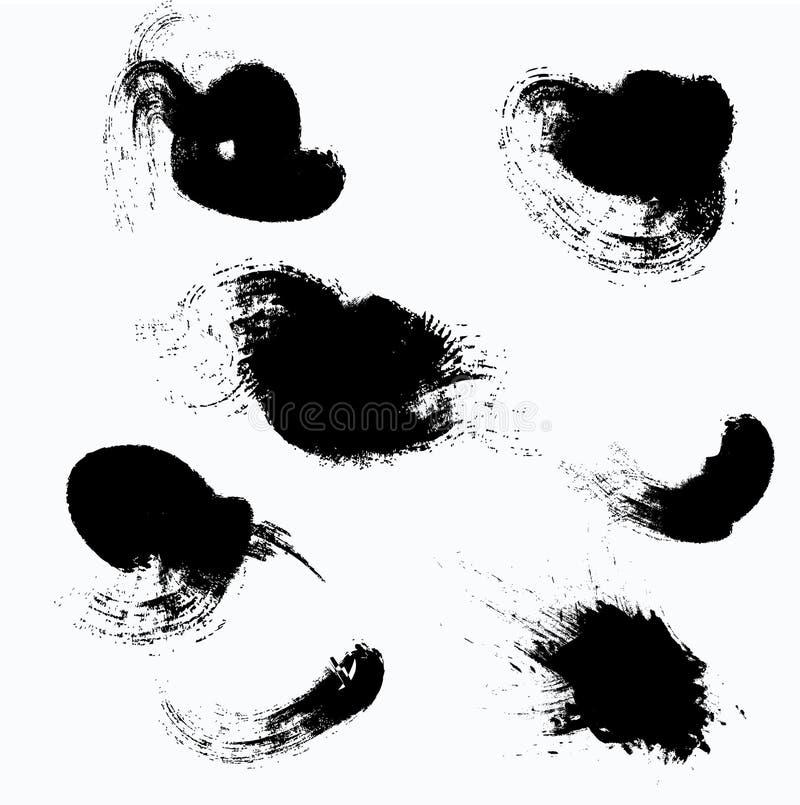 Λεκέδες μελανιού στο άσπρο υπόβαθρο Διανυσματικά κτυπήματα Σύνολο παφλασμών διανυσματική απεικόνιση