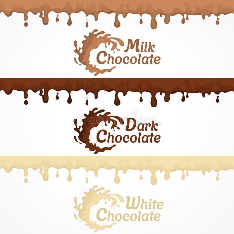 Λεκέδες σοκολάτας και ετικέτα παφλασμών διανυσματική απεικόνιση