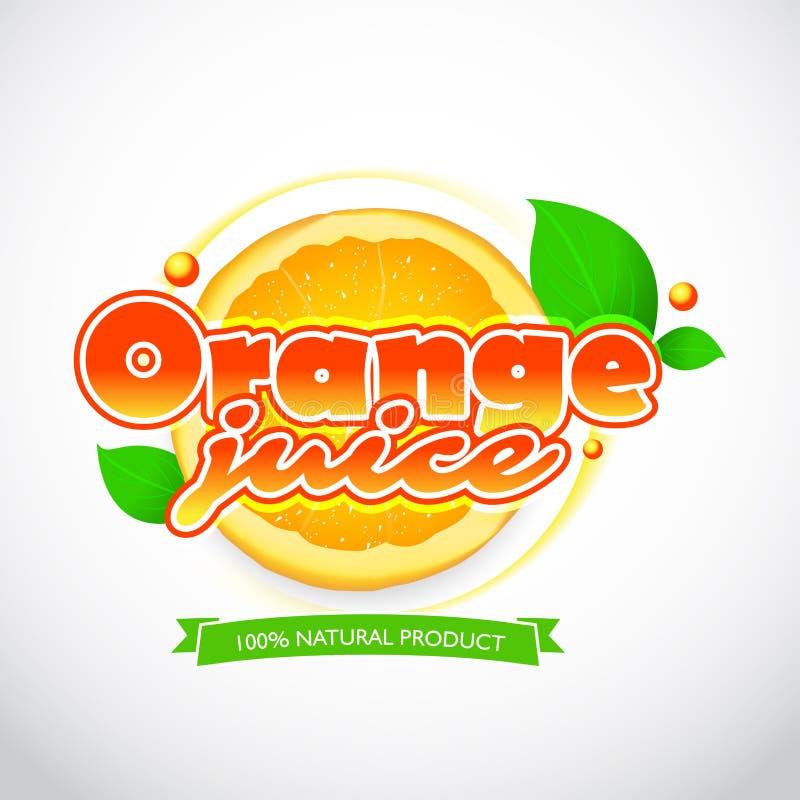 Λεκές ετικετών χυμού από πορτοκάλι και εγγραφή με την κορδέλλα στο άσπρο υπόβαθρο Ο παφλασμός και το σχέδιο λεκέδων, διαμορφώνουν διανυσματική απεικόνιση