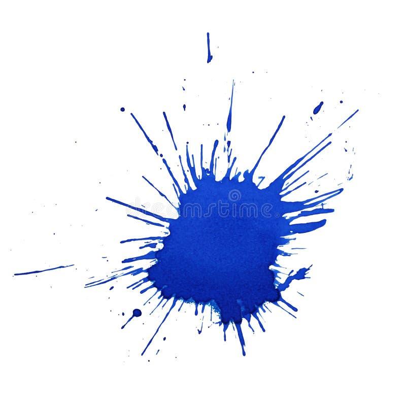 Λεκές μπλε μελανιού ή χρωμάτων με τον ψεκασμό για τη συλλογή σχεδίου στοκ εικόνες