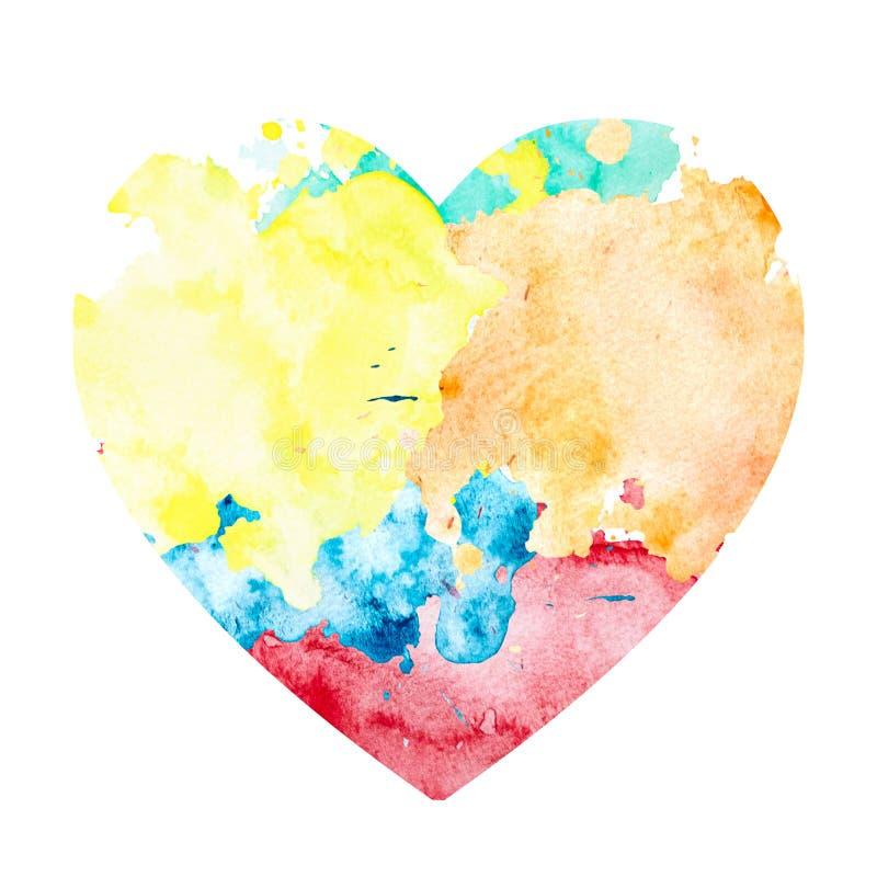 Λεκές Watercolor με μορφή μιας καρδιάς ελεύθερη απεικόνιση δικαιώματος
