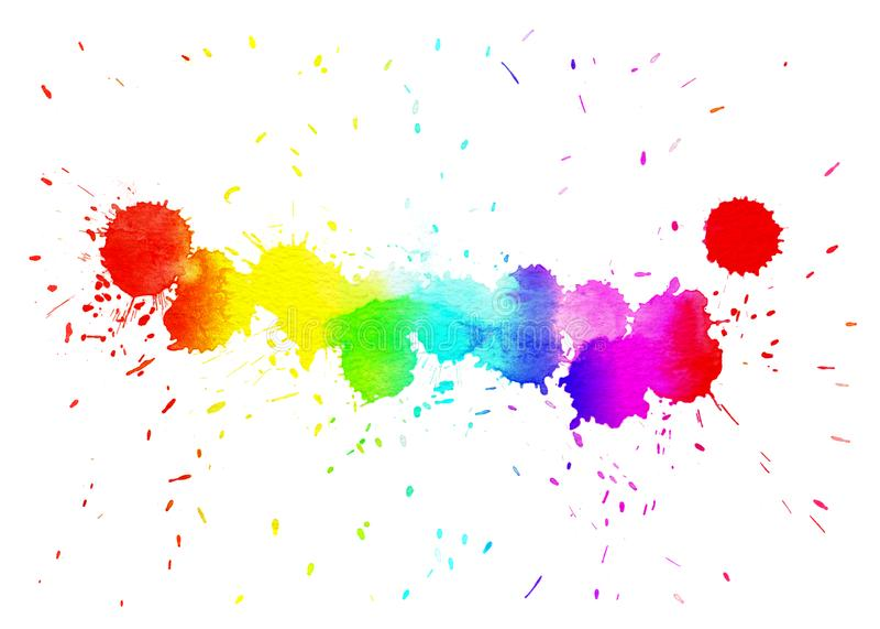 Λεκές Watercolor με τα χρώματα κλίσης στοκ εικόνα