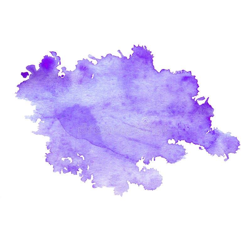 Λεκές Watercolor της πορφύρας νέου με τους παφλασμούς απεικόνιση αποθεμάτων