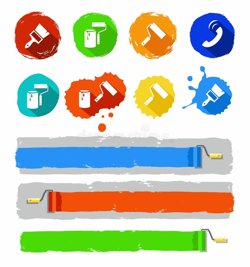 Λεκέδες εικονιδίων χρώματος εργαλείων χρωμάτων ελεύθερη απεικόνιση δικαιώματος