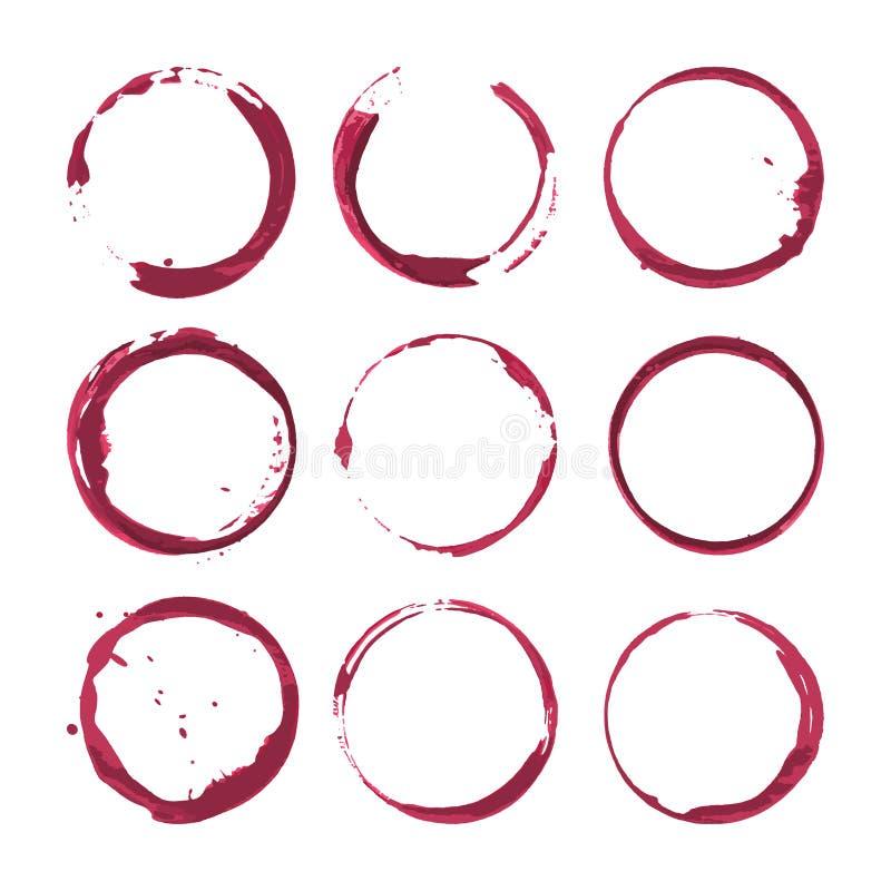 Λεκέδες κόκκινου κρασιού Παφλασμοί κρασιού ιχνών καθορισμένοι διάνυσμα ελεύθερη απεικόνιση δικαιώματος