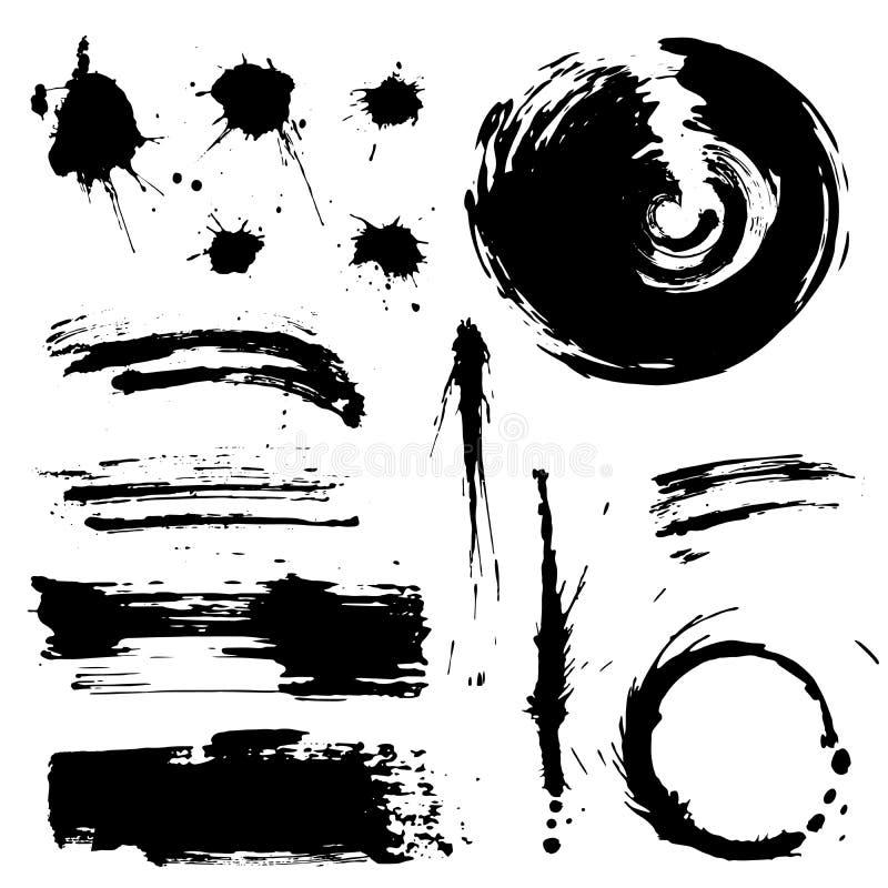 Λεκέδες Grunge και σκιαγραφία παφλασμών διανυσματική απεικόνιση