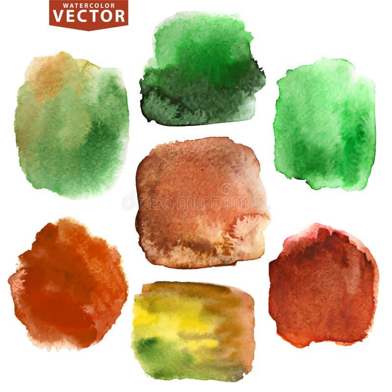 Λεκέδες Watercolor Καφετιά, πράσινα χρώματα φύσης διανυσματική απεικόνιση