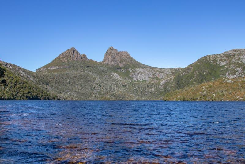 Λεκιασμένα Tanin νερά στο βουνό λίκνων, Τασμανία στοκ εικόνα