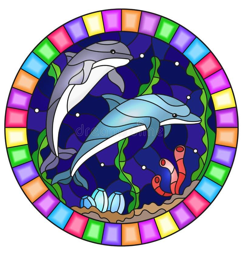 Λεκιασμένη απεικόνιση γυαλιού με ένα ζευγάρι των δελφινιών στο υπόβαθρο του νερού και το βυθό, ωοειδής εικόνα στο φωτεινό πλαίσιο ελεύθερη απεικόνιση δικαιώματος