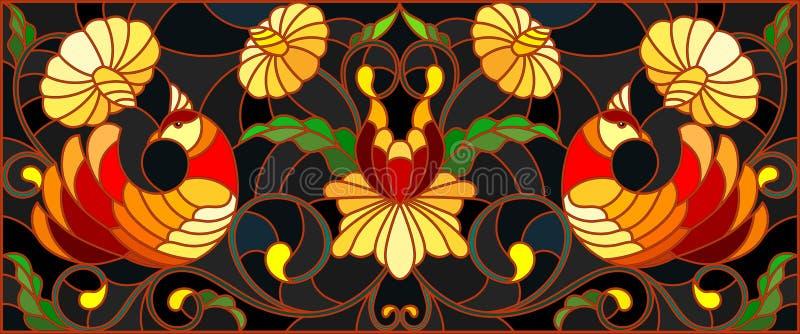 Λεκιασμένη απεικόνιση γυαλιού με ένα ζευγάρι των πουλιών, των λουλουδιών και των σχεδίων σε ένα σκοτεινό υπόβαθρο, οριζόντια εικό διανυσματική απεικόνιση
