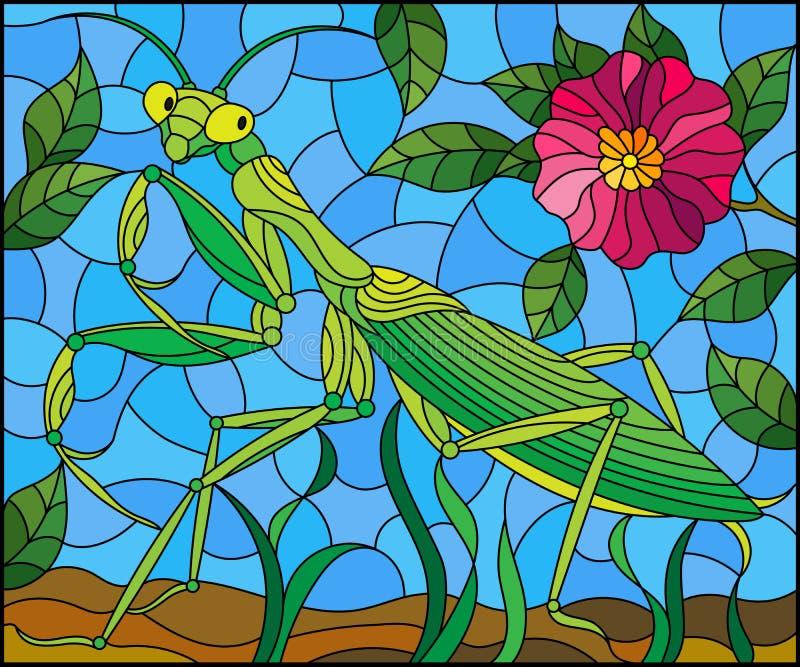 Λεκιασμένη απεικόνιση γυαλιού με τα πράσινα mantis και ρόδινο λουλούδι στο υπόβαθρο χλόης και ουρανού διανυσματική απεικόνιση