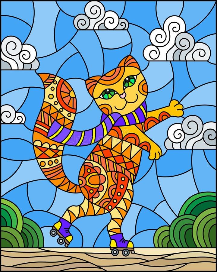 Λεκιασμένη απεικόνιση γυαλιού με την αστεία κόκκινη γάτα κινούμενων σχεδίων στους κυλίνδρους, στο υπόβαθρο του δρόμου και τον ουρ διανυσματική απεικόνιση
