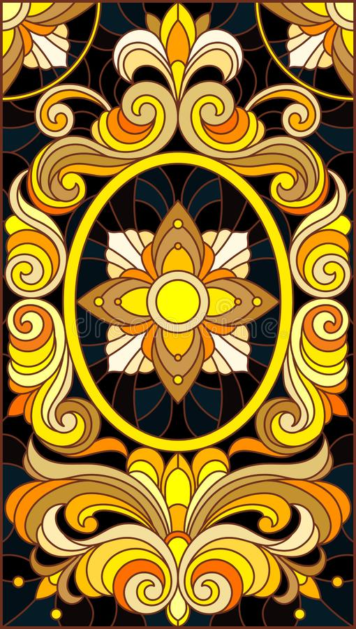 Λεκιασμένη απεικόνιση γυαλιού με τη floral διακόσμηση, μίμησης χρυσός στο σκοτεινό υπόβαθρο με τους στροβίλους και τα floral μοτί απεικόνιση αποθεμάτων