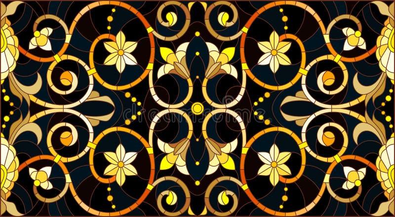Λεκιασμένη απεικόνιση γυαλιού με τη floral διακόσμηση, μίμησης χρυσός στο σκοτεινό υπόβαθρο με τους στροβίλους και τα floral μοτί διανυσματική απεικόνιση