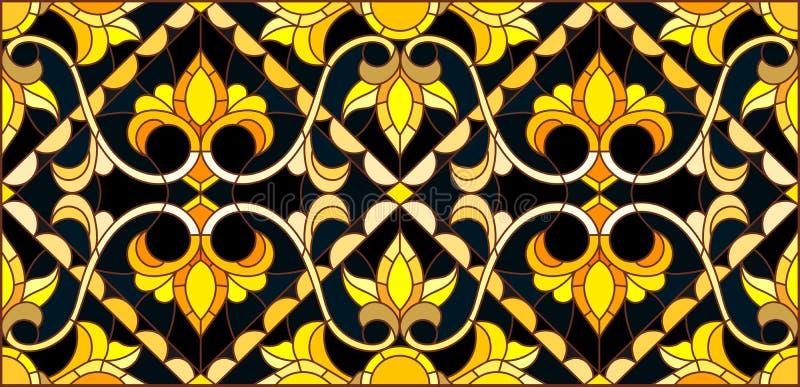 Λεκιασμένη απεικόνιση γυαλιού με τη floral διακόσμηση, μίμησης χρυσός στο σκοτεινό υπόβαθρο με τους στροβίλους και τα floral μοτί ελεύθερη απεικόνιση δικαιώματος