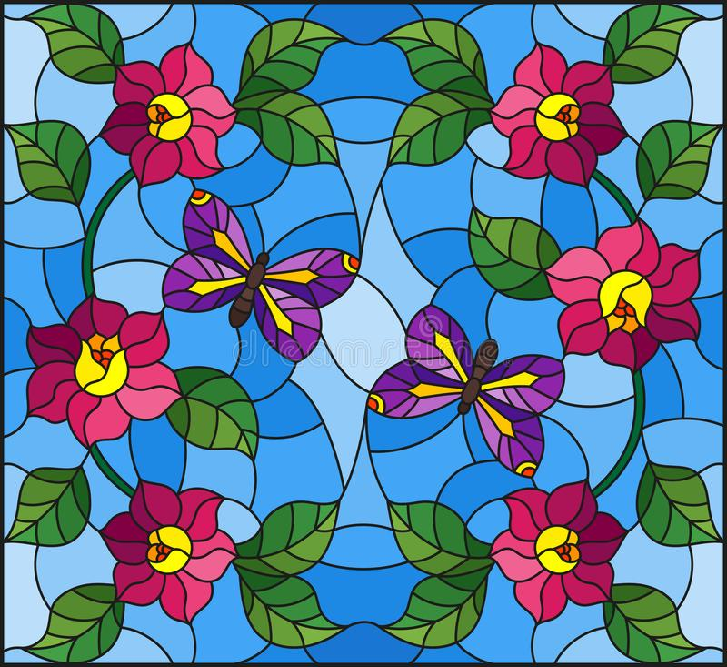 Λεκιασμένη απεικόνιση γυαλιού με το αφηρημένο σγουρό ρόδινο λουλούδι και μια πορφυρή πεταλούδα στο μπλε υπόβαθρο απεικόνιση αποθεμάτων