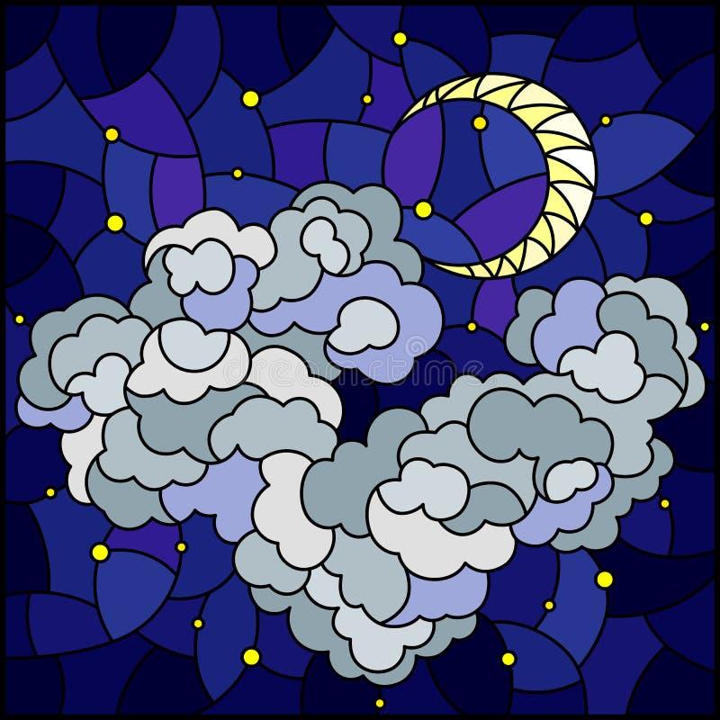 Λεκιασμένη απεικόνιση γυαλιού με το ουράνιο τοπίο, χνουδωτό σύννεφο στο υπόβαθρο του έναστρου ουρανού και φεγγάρι, τετραγωνική ει απεικόνιση αποθεμάτων
