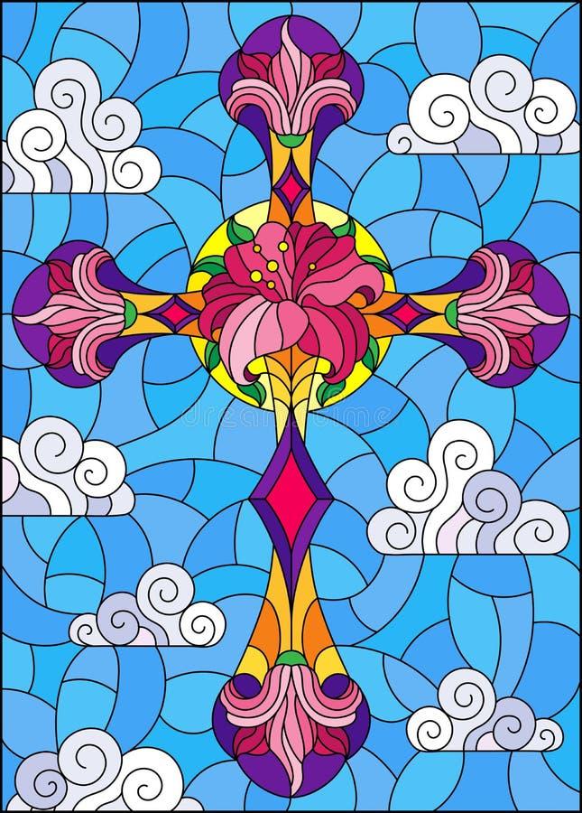 Λεκιασμένη απεικόνιση γυαλιού με το χριστιανικό σταυρό που διακοσμείται με τα ρόδινα λουλούδια στο υπόβαθρο μπλε ουρανού με τα σύ απεικόνιση αποθεμάτων