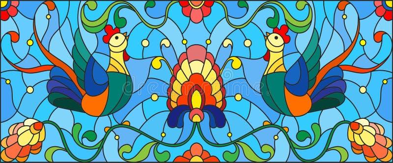 Λεκιασμένη απεικόνιση γυαλιού με ένα ζευγάρι των κοκκόρων, των λουλουδιών και των σχεδίων απεικόνιση αποθεμάτων