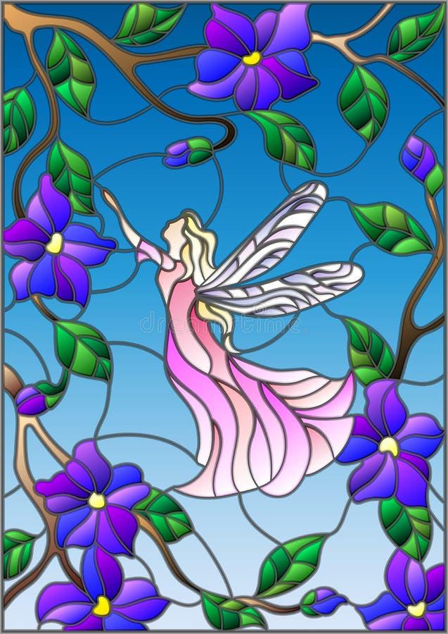 Λεκιασμένη απεικόνιση γυαλιού με μια φτερωτή νεράιδα στον ουρανό, τα λουλούδια και την πρασινάδα απεικόνιση αποθεμάτων