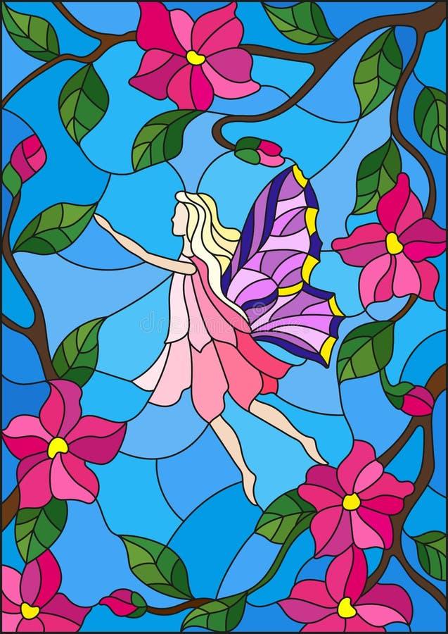 Λεκιασμένη απεικόνιση γυαλιού με μια φτερωτή νεράιδα στον ουρανό, τα ρόδινες λουλούδια και την πρασινάδα απεικόνιση αποθεμάτων