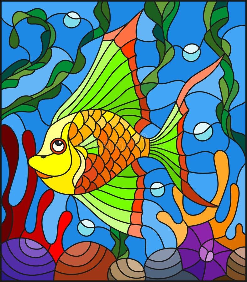 Λεκιασμένη απεικόνιση γυαλιού με τα αφηρημένα ζωηρόχρωμα εξωτικά ψάρια ανάμεσα στο φύκι, το κοράλλι και τα κοχύλια απεικόνιση αποθεμάτων
