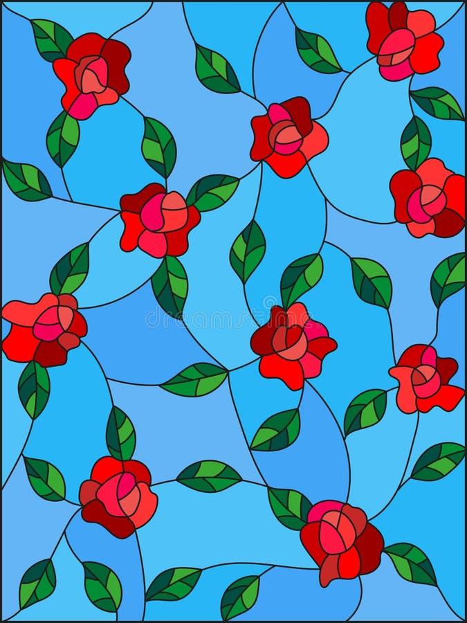 Λεκιασμένη απεικόνιση γυαλιού με τα συνδυασμένα τριαντάφυλλα και τα φύλλα σε ένα μπλε υπόβαθρο απεικόνιση αποθεμάτων