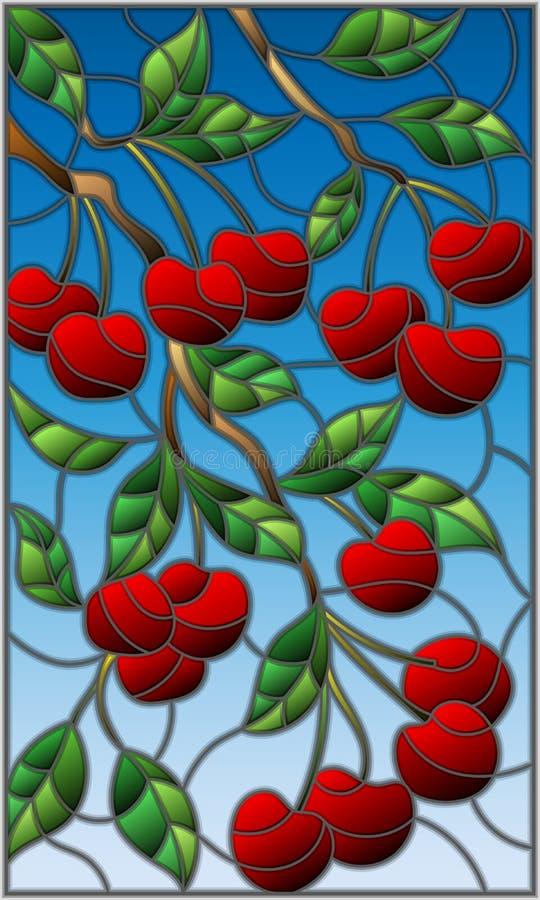 Λεκιασμένη απεικόνιση γυαλιού με τους κλάδους του δέντρου κερασιών, τους κλάδους, τα φύλλα και τα μούρα ενάντια στον ουρανό ελεύθερη απεικόνιση δικαιώματος