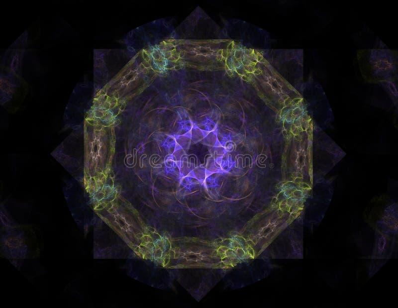 Λεκιασμένη λουλούδι γυαλιού ή πεταλούδα, ψηφιακό fractal σχέδιο τέχνης διανυσματική απεικόνιση