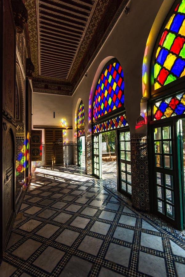 Λεκιασμένο γυαλί στο παλάτι Bahia, Μαρακές, Μαρόκο στοκ φωτογραφία με δικαίωμα ελεύθερης χρήσης
